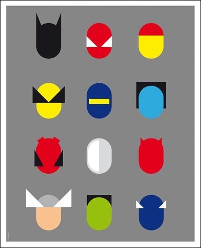 Superhero heads by Greg Guillemin