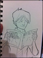 Sketch of Hunter from Morning Glories reading Emitown