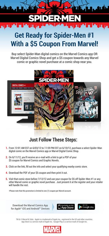 Marvel Offers $5 In-Store Coupon w/ Purchase of Spider-Man