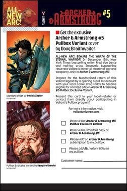 Archer & Armstrong #5 Pullbox Variant request form