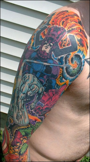 Jack Kirby inspired full sleeve tattoo