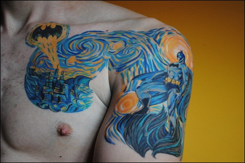 Starry Night over the Gotham City Batman Tattoo