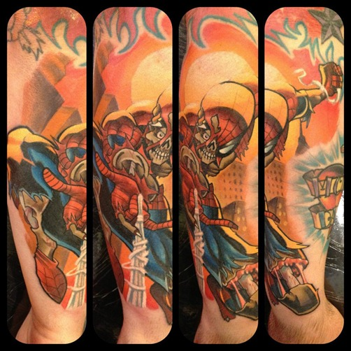 Marvel Zombies Spider-Man tattoo by Mat Lapping