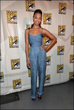 """SAN DIEGO, CA - JULY 20: Actress Zoe Saldana attends Marvel's """"Guardians Of The Galaxy"""" panel during Comic-Con International 2013 at San Diego Convention Center on July 20, 2013 in San Diego, California.  (Photo by Alberto E. Rodriguez/WireImage)"""