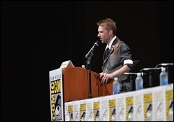 SAN DIEGO, CA - JULY 20: Chris Hardwick moderates at Marvel Studios panels during Comic-Con International 2013 at San Diego Convention Center on July 20, 2013 in San Diego, California.  (Photo by Alberto E. Rodriguez/WireImage)