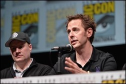 """SAN DIEGO, CA - JULY 20: Producer and President of Marvel Studios Kevin Feige (L) and James Gunn speak at Marvel's """"Guardians Of The Galaxy"""" panel during Comic-Con International 2013 at San Diego Convention Center on July 20, 2013 in San Diego, California.  (Photo by Alberto E. Rodriguez/WireImage)"""