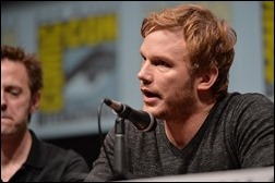 """SAN DIEGO, CA - JULY 20: Actors James Gunn (L) and Chris Pratt speak at Marvel's """"Guardians Of The Galaxy"""" panel during Comic-Con International 2013 at San Diego Convention Center on July 20, 2013 in San Diego, California.  (Photo by Alberto E. Rodriguez/WireImage)"""
