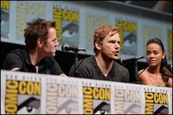 """SAN DIEGO, CA - JULY 20: (L-R) Actors James Gunn, Chris Pratt and Zoe Saldana speak at Marvel's """"Guardians Of The Galaxy"""" panel during Comic-Con International 2013 at San Diego Convention Center on July 20, 2013 in San Diego, California.  (Photo by Alberto E. Rodriguez/WireImage)"""