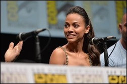 """SAN DIEGO, CA - JULY 20: Actress Zoe Saldana speaks at Marvel's """"Guardians Of The Galaxy"""" panel during Comic-Con International 2013 at San Diego Convention Center on July 20, 2013 in San Diego, California.  (Photo by Alberto E. Rodriguez/WireImage)"""