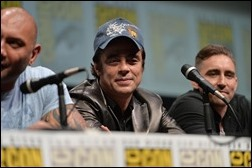 """SAN DIEGO, CA - JULY 20: (L-R) Actors Dave Bautista, Benicio del Toro and Lee Pace speak at Marvel's """"Guardians Of The Galaxy"""" panel during Comic-Con International 2013 at San Diego Convention Center on July 20, 2013 in San Diego, California.  (Photo by Alberto E. Rodriguez/WireImage)"""