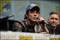 """SAN DIEGO, CA - JULY 20: Actors Benicio del Toro (L) and Lee Pace speak at Marvel's """"Guardians Of The Galaxy"""" panel during Comic-Con International 2013 at San Diego Convention Center on July 20, 2013 in San Diego, California.  (Photo by Alberto E. Rodriguez/WireImage)"""