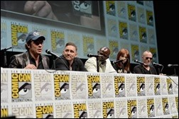 """SAN DIEGO, CA - JULY 20: (L-R) Actors Benicio del Toro, Lee Pace, Djimon Hounsou, Karen Gillan and Michael Rooker speak at Marvel's """"Guardians Of The Galaxy"""" panel during Comic-Con International 2013 at San Diego Convention Center on July 20, 2013 in San Diego, California.  (Photo by Alberto E. Rodriguez/WireImage)"""