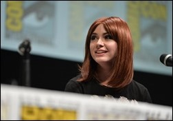 """SAN DIEGO, CA - JULY 20:  Actress Karen Gillan speaks at Marvel's """"Guardians Of The Galaxy"""" panel during Comic-Con International 2013 at San Diego Convention Center on July 20, 2013 in San Diego, California.  (Photo by Alberto E. Rodriguez/WireImage)"""
