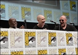 """SAN DIEGO, CA - JULY 20: (L-R) Actors Djimon Hounsou, Karen Gillan and Michael Rooker speak at Marvel's """"Guardians Of The Galaxy"""" panel during Comic-Con International 2013 at San Diego Convention Center on July 20, 2013 in San Diego, California.  (Photo by Alberto E. Rodriguez/WireImage)"""