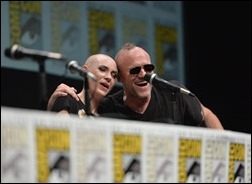"""SAN DIEGO, CA - JULY 20: Actress Karen Gillan (L) and actor Michael Rooker speak at Marvel's """"Guardians Of The Galaxy"""" panel during Comic-Con International 2013 at San Diego Convention Center on July 20, 2013 in San Diego, California.  (Photo by Alberto E. Rodriguez/WireImage)"""