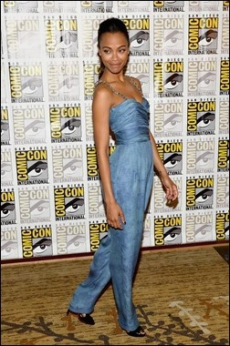 """SAN DIEGO, CA - JULY 20:  Actress Zoe Saldana attends Marvel Studios' """"Thor: The Dark World"""", """"Captain America: The Winter Soldier"""" and """"Guardians of The Galaxy"""" during Comic-Con International 2013 at Hilton San Diego Bayfront Hotel on July 20, 2013 in San Diego, California.  (Photo by Ethan Miller/Getty Images)"""