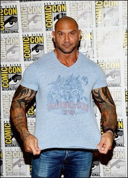 """SAN DIEGO, CA - JULY 20:  Actor Dave Bautista attends Marvel Studios' """"Thor: The Dark World"""", """"Captain America: The Winter Soldier"""" and """"Guardians of The Galaxy"""" during Comic-Con International 2013 at Hilton San Diego Bayfront Hotel on July 20, 2013 in San Diego, California.  (Photo by Ethan Miller/Getty Images)"""