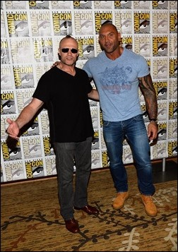 """SAN DIEGO, CA - JULY 20:  Actors Michael Rooker (L) and Dave Bautista attend Marvel Studios' """"Thor: The Dark World"""", """"Captain America: The Winter Soldier"""" and """"Guardians of The Galaxy"""" during Comic-Con International 2013 at Hilton San Diego Bayfront Hotel on July 20, 2013 in San Diego, California.  (Photo by Ethan Miller/Getty Images)"""