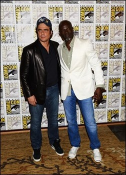 """SAN DIEGO, CA - JULY 20:  Actors Benicio Del Toro (L) and Djimon Hounsou attend Marvel Studios' """"Thor: The Dark World"""", """"Captain America: The Winter Soldier"""" and """"Guardians of The Galaxy"""" during Comic-Con International 2013 at Hilton San Diego Bayfront Hotel on July 20, 2013 in San Diego, California.  (Photo by Ethan Miller/Getty Images)"""
