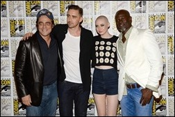"""SAN DIEGO, CA - JULY 20:  (L-R) Actors Benicio Del Toro, Lee Pace, Karen Gillan and Djimon Hounsou attend Marvel Studios' """"Thor: The Dark World"""", """"Captain America: The Winter Soldier"""" and """"Guardians of The Galaxy"""" during Comic-Con International 2013 at Hilton San Diego Bayfront Hotel on July 20, 2013 in San Diego, California.  (Photo by Ethan Miller/Getty Images)"""
