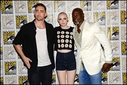 """SAN DIEGO, CA - JULY 20:  (L-R) Actors Lee Pace, Karen Gillan and Djimon Hounsou attend Marvel Studios' """"Thor: The Dark World"""", """"Captain America: The Winter Soldier"""" and """"Guardians of The Galaxy"""" during Comic-Con International 2013 at Hilton San Diego Bayfront Hotel on July 20, 2013 in San Diego, California.  (Photo by Ethan Miller/Getty Images)"""