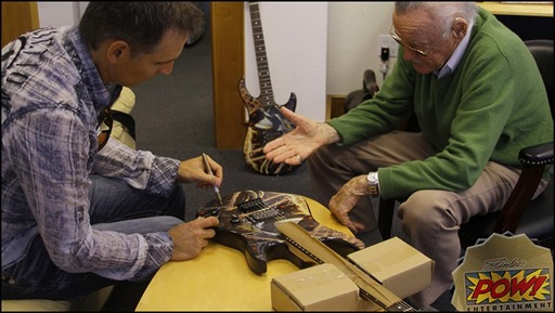 Stan Lee and Todd McFarlane signing SDCC Exclusive Spider-Man Limited Venom Edition Guitar