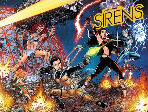 GEORGE PÉREZ'S SIRENS #1 Wraparound Right-Side Cover A by George Pérez