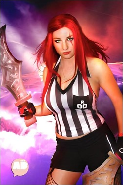 PrettyWreck Cosplay as RedCard Katarina (Photo by Brandon Bhola Photography - edits: Tatine on deviant art)
