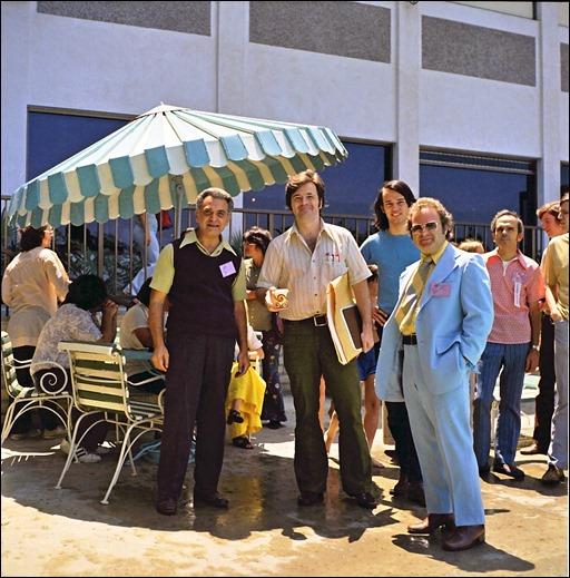 David Cody Weiss (far left, background), Jack Kirby, Neal Adams, Mike Friedrich, Bernie Lansky, Ed Nizyborski, ?, Bill Lund