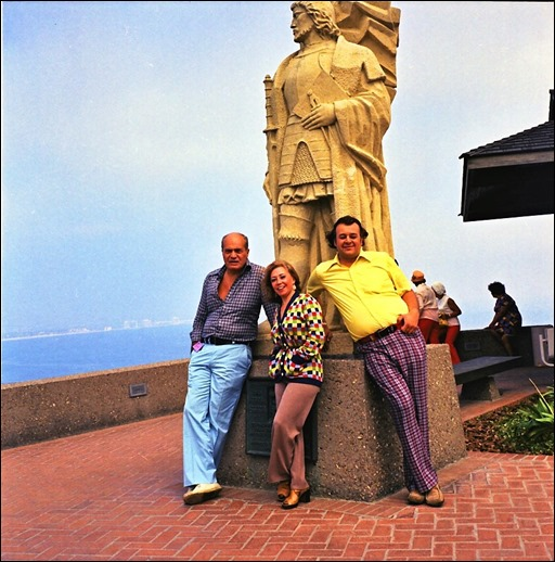 Carmine Infantino (left), June Foray, and Shel Dorf at Cabrillo National Monument