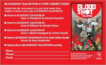 Bloodshot Salvation #1 Preorder Coupon